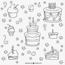 birthday cakes doodles vector free download