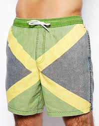 Jamiaca Flag Lyst Asos Swim Shorts In Mid Length With Jamaica Flag In Green