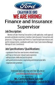 Sales Coordinator Job Description Job Hiring Finance And Insurance Supervisor For Ford Cagayan De