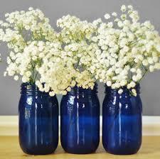 Mason Jar Vases Wedding Set Of Three Cobalt Blue Glass Mason Jar Vases Cottage Chic