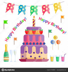 party icons celebration happy birthday surprise decoration