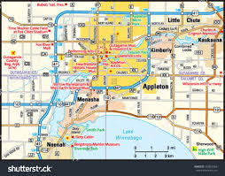 Wisconsin Map Cities by Appleton Wisconsin Area Map Stock Vector 153667064 Shutterstock