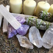 home blessings set cleansing crystals and sage kit gift for