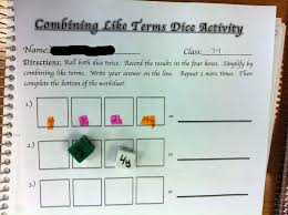 middle math madness combining like terms dice activity