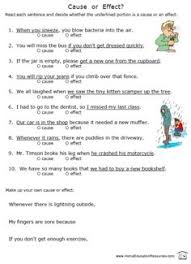 cause and effect worksheet modify to become observation and