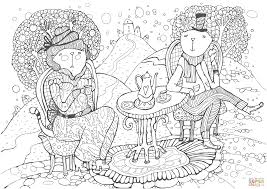 cats having a cup of tea coloring page free printable coloring pages