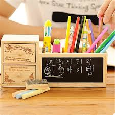 wooden pen holder with blackboard kawaii desk tidy pencil holder