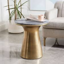 marble topped pedestal side table gray marble antique brass