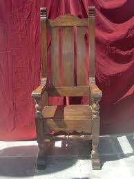 Antique High Back Chairs Turn Of The Century Solid Oak High Back Throne Chair From
