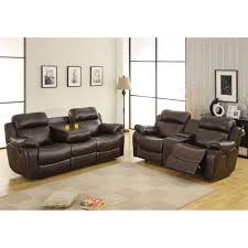 Brown Leather Reclining Sofa by 1 868 00 Marille 2pc Reclining Sofa Set In Dark Brown Bonded
