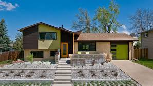 split level garage split level house exterior midcentury with garage door modern