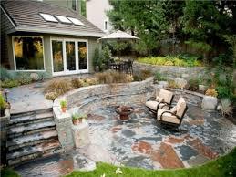 outdoor patio design fire pit rustic stone patio idea rustic