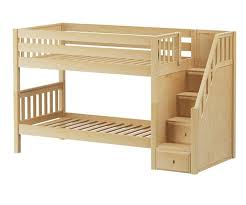 Wood Frame Bunk Beds Maxtrix Stacker Low Bunk Bed With Stairs Size Solid