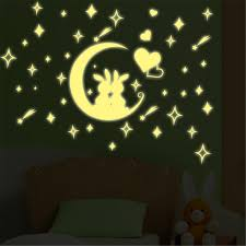 online get cheap magic wall stickers aliexpress com alibaba group 2016 new arrival creative removable childrens bedroom moon rabbit fluorescent wall sticker cartoon home decor magic wall paper