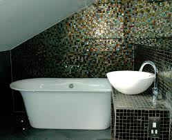 bathroom small attic bathroom with dark mosaic tile and white