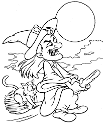 simple witch and cat halloween coloring pages kids free hallowen