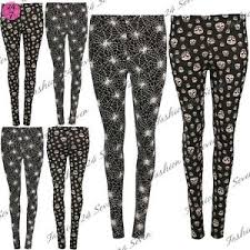 womens skull spider web jeggings fitted