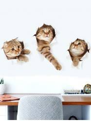 wall stickers brown 40 60cm 3d cat animal print home decor wall