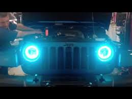 jeep wrangler blue headlights color changing oracle headlights on a 2014 jeep wrangler