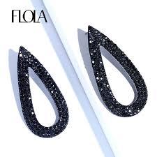 black drop earrings online shop flola jewelry black drop earrings women