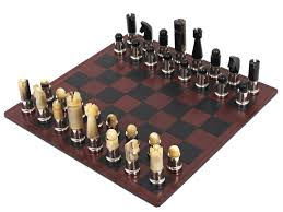 Contemporary Chess Set Carl Auböck Modernist Horn Chess Game With Leatherboard Austria