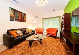 college apartment living room ideas with brown and orange colors