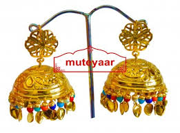 lotan earrings big lotan earrings 24 ct gold plated traditional punjabi jhumka