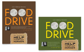 food drive fundraiser poster template design by