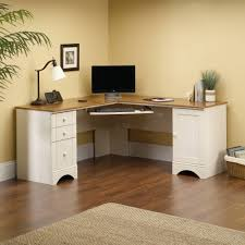 Corner White Desks Sauder Harbor View Corner Computer Desk Antiqued White Finish