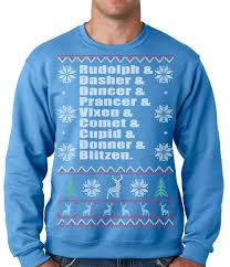 ugly christmas sweater reindeer names crewneck sweatshirt