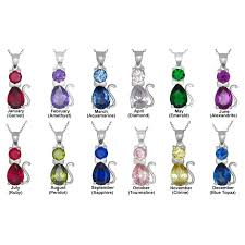 cat necklace sterling silver images Sterling silver cat pendant birthstones cubic zirconia stones charm jpg