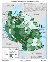 Map Of Tanzania Tanzania Pink Ribbon Red Ribbon