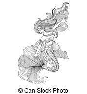 eps vector of mermaid sketch an illustrator sketch of a blonde