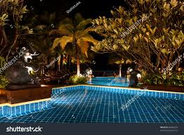 long exposure shot swimming pool night stock photo 86044555