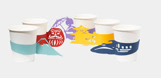 japan themed paper cup sleeves by akira yoshimura spoon u0026 tamago