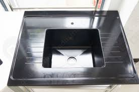 Resin Kitchen Sinks Black Color Epoxy Resin Sink With Drain Grooves Use For Science