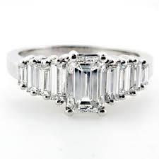 baguette ring emerald cut diamond engagement ring with emerald cut baguette side