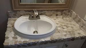 White Pebble Tiles Bathroom - sliced tan u0026 white pebble tile countertop subway tile outlet