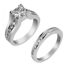 engagement rings for women his hers 3 pcs tungsten matching band classic women princess cut