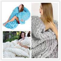 chunky knit blanket throw afghan 100 merino wool yarn handmade