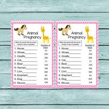 Free Printable Baby Shower Games Animal Pregnancy
