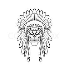 indian chief headdress drawing front view sketch coloring page