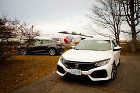 white subaru hatchback comparison test 2017 honda civic hatchback vs 2017 mazda 3 5 door