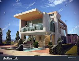 modern villa render 1 stock illustration 394947976 shutterstock
