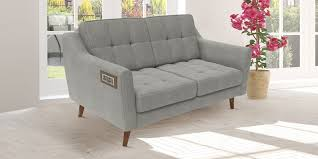 slim two seater sofa buy modern two seater sofa with slim slanted arms in light grey