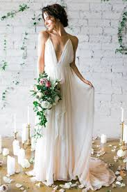 simple deep v neck sweep train ivory wedding dresses with straps
