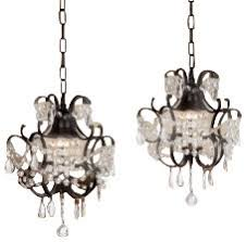 Traditional Kitchen Island Lighting Wrought Iron Crystal Chandelier Pendant Set Of 2 Traditional