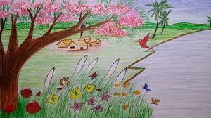 how to draw spring season with village scene step by step youtube