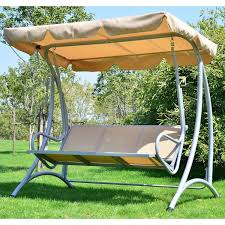 Patio Swing Cushions 3 Seat Patio Swing With Canopy Metal Frame Stripe Soft Seat