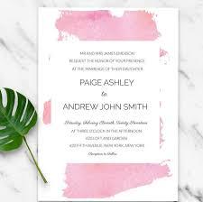 Editable Wedding Invitation Cards Light Pink Watercolor Splash Modern Invitation Download Diy